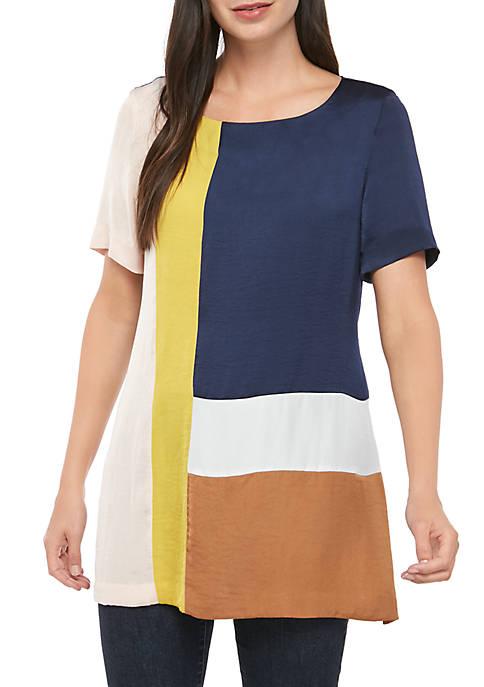 Joan Vass New York Short Sleeve Color Block