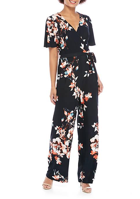 Joan Vass New York Floral Wrap Jumpsuit