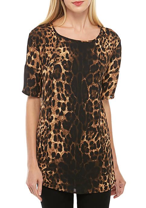 Joan Vass New York Cheetah Print Crochet Trim