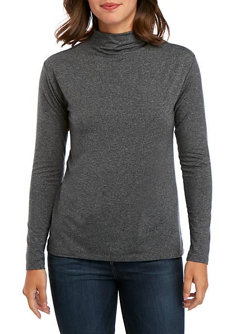Joan Vass New York Long Sleeve Marled Knit