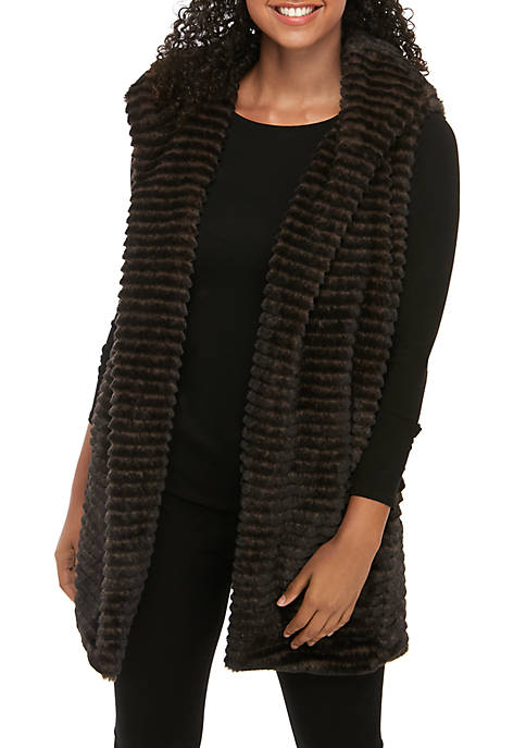 Joan Vass New York Pocket Faux Fur Vest