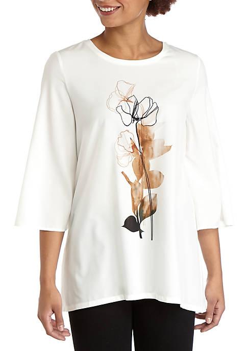 Womens Rose Placed Print Mixed Media T-Shirt