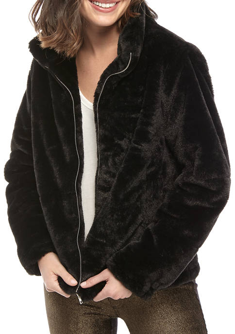 Womens Stand Collar Fur Jacket