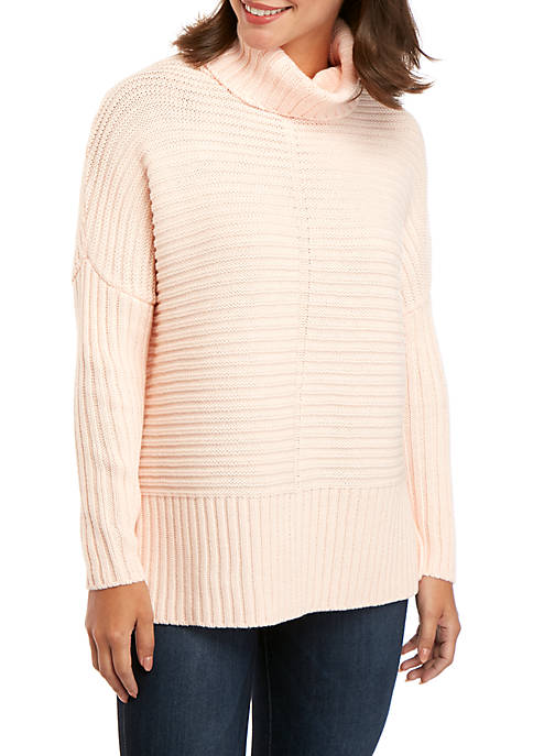 Rib Knit Cowl Neck Sweater