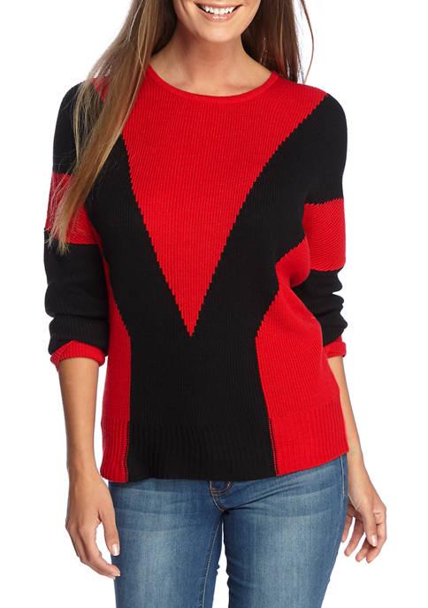 Joan Vass New York Womens Color Block Pullover