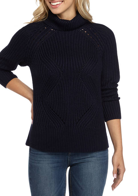 Womens Raglan Turtleneck Sweater