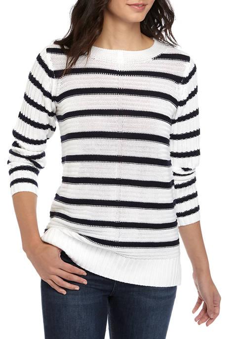 Joan Vass New York Womens Stripe Boat Neck