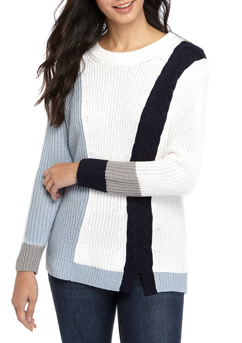 Womens Color Block Cable Sweater