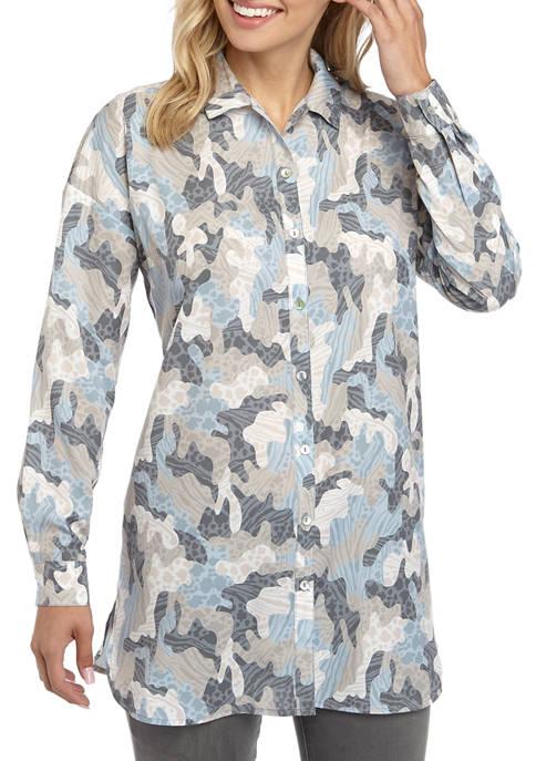 Joan Vass New York Womens Camouflage Tunic Shirt