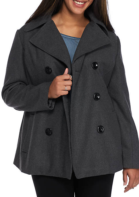 8f479a957525 Rampage Plus Size Cailee Classic Peacoat
