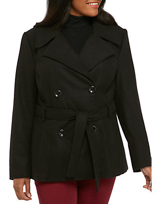 Rampage Plus Size Pleated Peacoat With Tie Belk