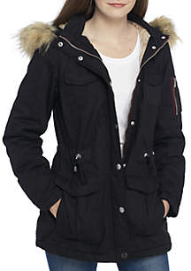 Faux Solid Fur Hood Anorak Jacket