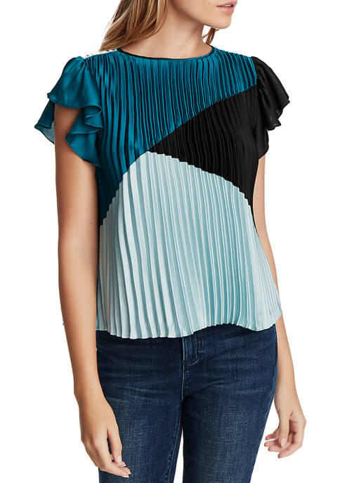1. State Womens Color Block Pleated Flutter Sleeve