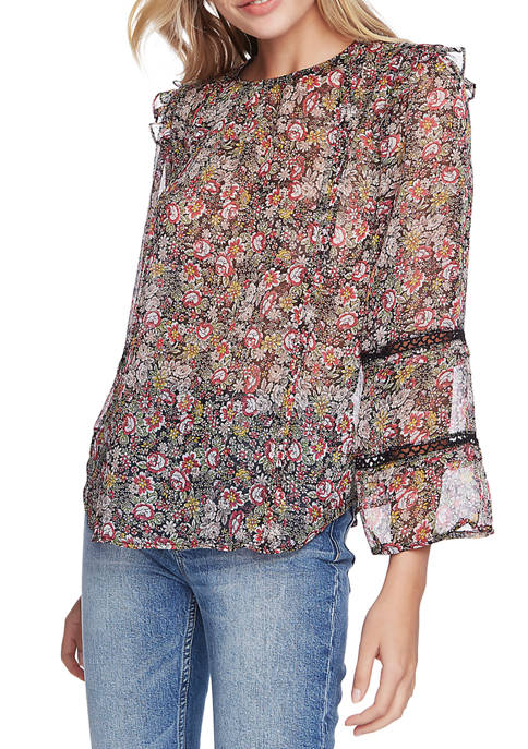 Womens Long Sleeve Forest Gardens Lace Inset Blouse