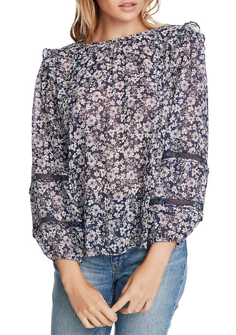 Womens Long Sleeve Lace Wildflower Top
