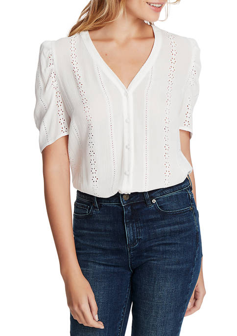 1. State Womens Short Sleeve Embroidered Crinkle Button