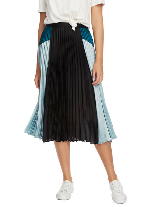 Womens Color Block Pleated Midi Skirt