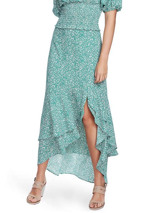 Womens Folk Silhouette Floral High Low Skirt