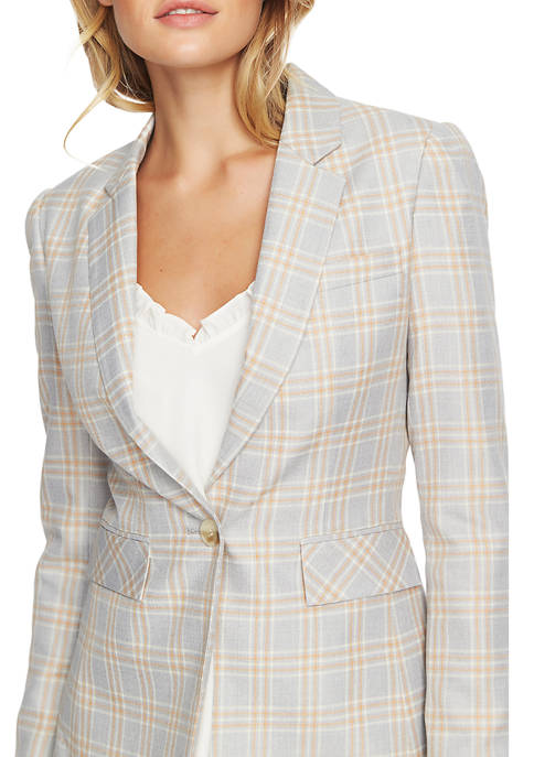 1. State Womens Woodland Plaid One-Button Blazer