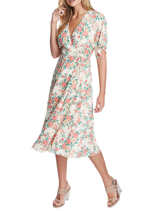 1. State Womens Wrap Front Ikat Bouquet Midi