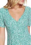 Womens Short Sleeve Folk Silhouette Floral Button Front Dress