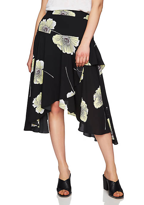 1. State Wrap High Low Printed Skirt