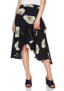 Wrap High Low Printed Skirt