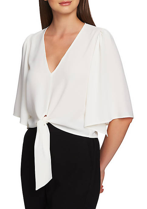 Flounce Sleeve V Neck Tie Front Top