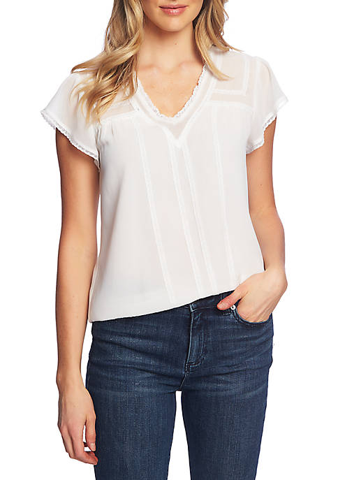 Short Sleeve V Neck Lace Trim Woven Top