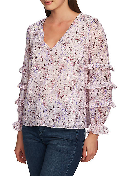 1. State Floral V Neck Ruffle Sleeve Blouse