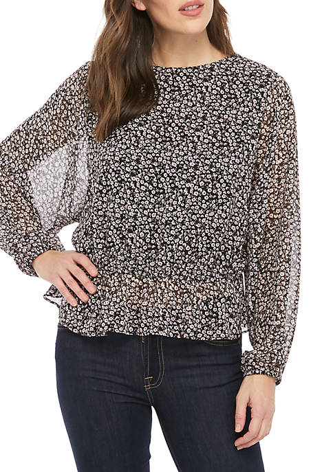 Long Sleeve Ditsy Dolman Top