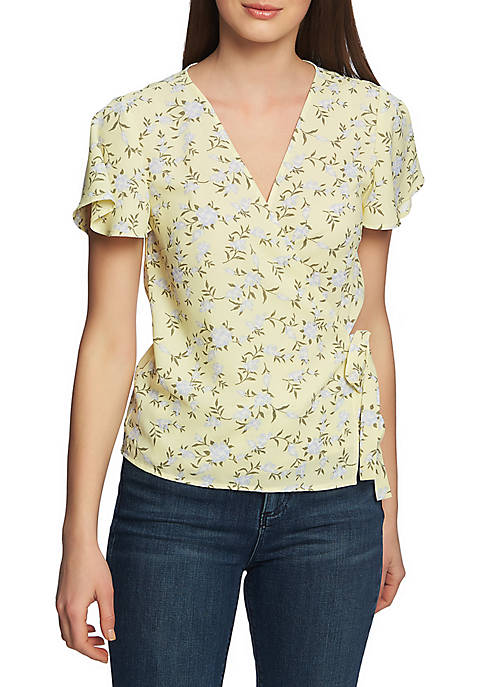 1. State Short Sleeve Printed Wrap Blouse