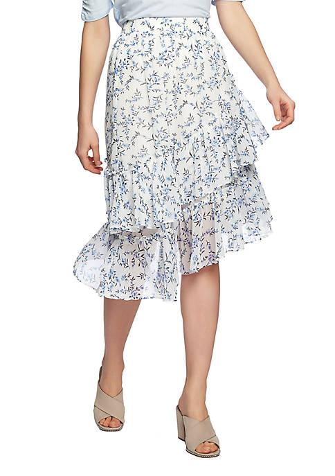 Tiered Asymmetrical Printed Skirt