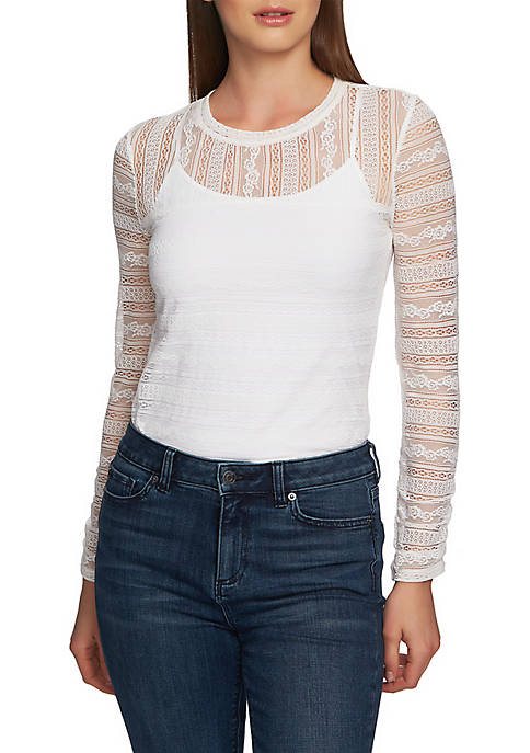 1. State Long Sleeve Delicate Lace Top