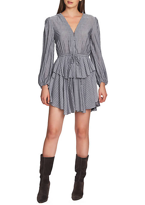 1. State Long Sleeve Cinch Waist Stripe Dress