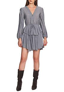 1. State Long Sleeve Cinch Waist Stripe Dress