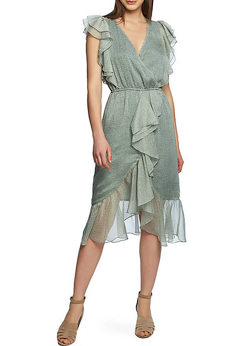 X Front Ditsy High Low Dress