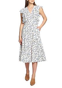1. State Flounce Sleeve Wrap Dress