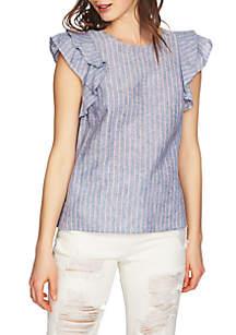Flounce Sleeve Linen Top