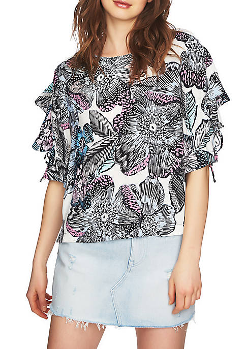 1. State Ruffled Edge Tie Sleeve Blouse