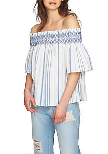 Off-the-Shoulder Smocked Embroidered Blouse