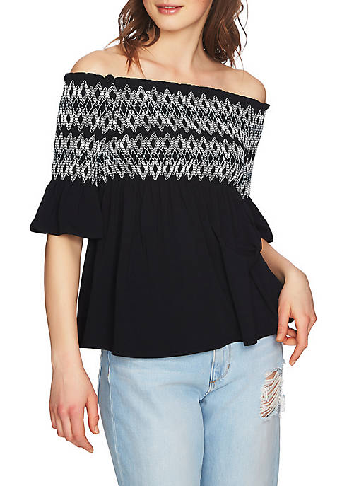 1. State Off-The-Shoulder Smock Embroidered Blouse