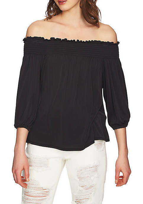 1. State Smocked Edge Off-The-Shoulder Top