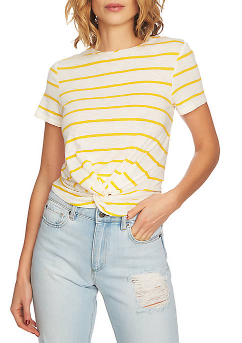 1. State Short Sleeve Twist Front Stripe Tee