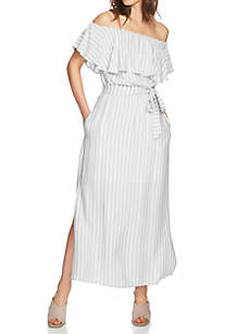 Off-The-Shoulder Ruffle Maxi Dress