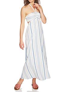 Cinch Bodice Stripe Maxi Dress