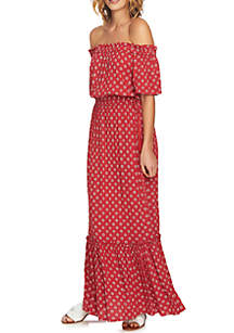 Off-the-Shoulder Printed Cinched Waist Maxi Dress