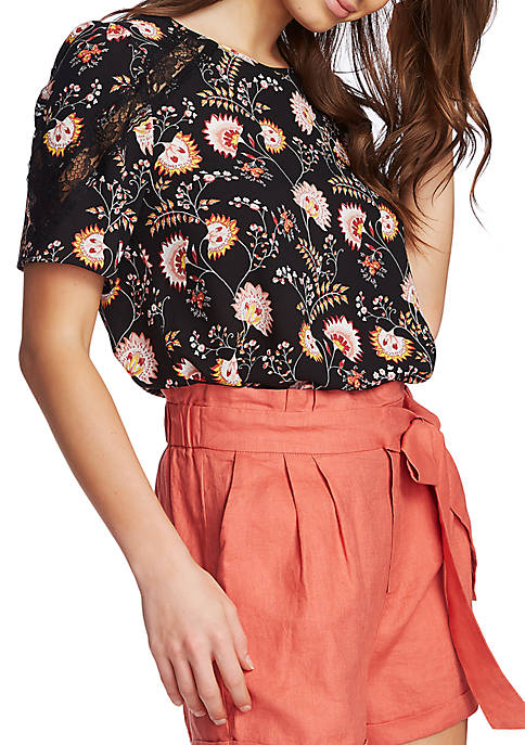 1. State Short Sleeve Garden Lace Inset Blouse