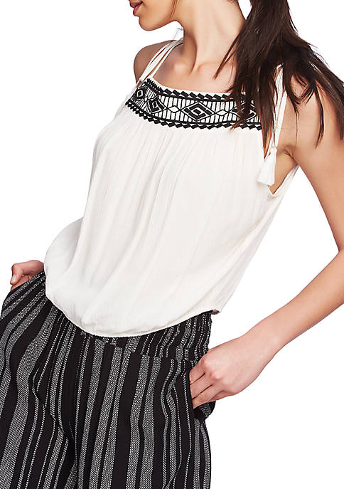 1. State Tie Shoulder Embroidered Gauze Top