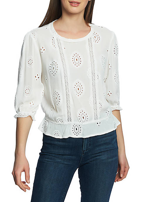 1. State 3/4 Sleeve Lace Embroidered Blouse